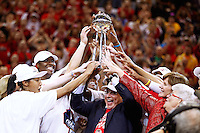 INDIANAPOLIS, IN - OCTOBER 21: Owner Herb Simon of the Indiana Fever hoists the WNBA Championship trophy after defeating the Minnesota Lynx in Game Four of the 2012 WNBA Finals on October 21, 2012 at Bankers Life Fieldhouse in Indianapolis, Indiana. NOTE TO USER: User expressly acknowledges and agrees that, by downloading and or using this Photograph, user is consenting to the terms and conditions of the Getty Images License Agreement. (Photo by Michael Hickey/Getty Images) *** Local Caption *** Herb Simon