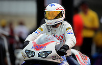 Jun. 1, 2012; Englishtown, NJ, USA: NHRA pro stock motorcycle rider Hector Arana Jr during qualifying for the Supernationals at Raceway Park. Mandatory Credit: Mark J. Rebilas-