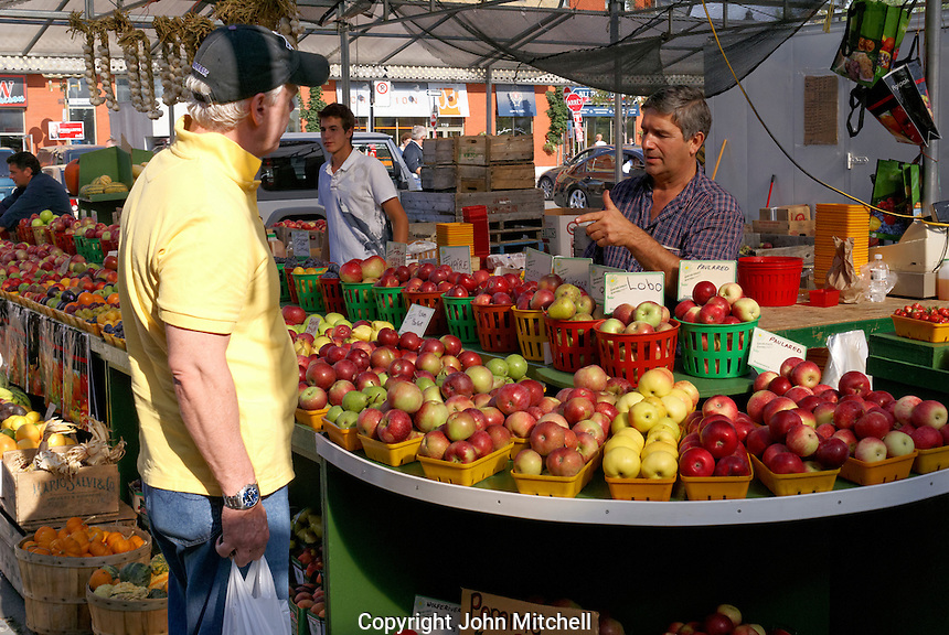 Customer speaking with an apple vendor at the Atwater Market, Montreal, Quebec, Canada