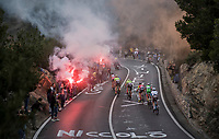 smoke bombs &amp; fireworks for the breakaway group up the Capo Berta (38 km's before the finish)<br /> <br /> 108th Milano - Sanremo 2017