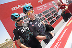 Elia Viviani (ITA) Team Sky and team mates sign on before the start of Stage 1 Emirates Motor Company Stage of the 2017 Abu Dhabi Tour, running 189km from Madinat Zayed through the desert and back to Madinat Zayed, Abu Dhabi. 23rd February 2017<br /> Picture: ANSA/Matteo Bazzi | Newsfile<br /> <br /> <br /> All photos usage must carry mandatory copyright credit (&copy; Newsfile | ANSA)