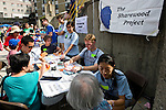 Tufts' Sharewood Project, a free health clinic run by Medical school faculty and student volunteers, participates in the annual Oak Street Fair in Chinatown. (Alonso Nichols/Tufts University)