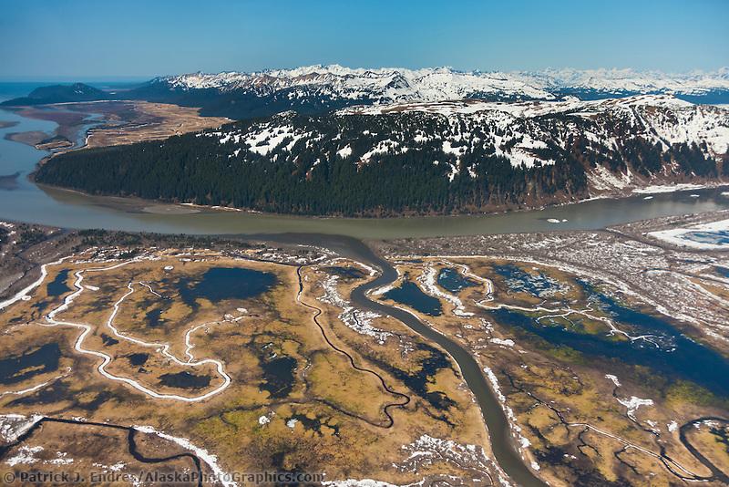 Springtime, Bering river and the Chugach mountains, Copper River Delta, southcentral, Alaska.