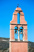 Church bells in church bell  tower of Saint Iakovos Persis belltower in ancient village Old Perithia - Palea Peritheia, Corfu, Greece