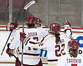 [bc10, Melissa Bizzari (BC - 4), Haley Skarupa (BC - 22) - The Boston College Eagles defeated the visiting Cornell University Big Red 4-3 (OT) on Sunday, January 11, 2012, at Kelley Rink in Conte Forum in Chestnut Hill, Massachusetts.