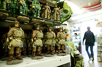 24 April 2004 - Sainte-Mre-Eglise, France - Miniature models of the American 82nd and 101st Airborne Division stand on display in a tourist store in Sainte-Mere-Eglise, France, 24 April 2004. Paratroopers from both divisions jumped over Normandy in the early morning of June 6th 1944 with some landing over the village. One soldier, John Steel, getting stuck on the church's bell tower as depicted in the movie The Longest Day.