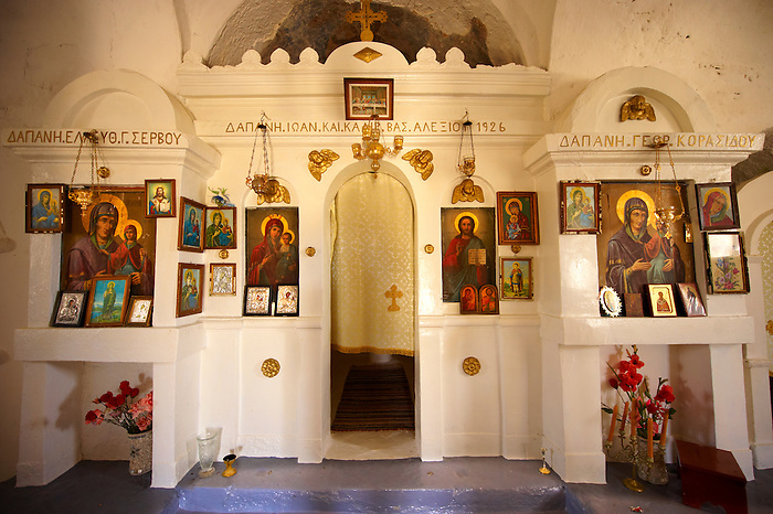 Interior of the the  17th Century Byzantine Greek Orthodox Monastery of Agia Anna ( St Anne) 17th Century