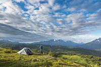 Hiker near the Lost Lake Trail, Chugach National Forest, Seward, Alaska.