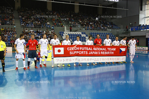 Czech Republic Football team group (CZE), JUNE 11th, 2011 - Football : Czech Republic players show a message for the victims of the earthquake in Japan before the International friendly series game between Japan and Czech Republic at the Taiyo Yakuhin Ocean Arena in Nagoya, Aichi-ken, Japan. Futsal Japan beat the Czech Republic 4-1. (Photo by Kenzaburo Matsuoka/AFLO)