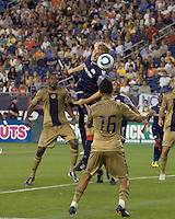New England Revolution midfielder Seth Sinovic (27) heads a corner kick. The Philadelphia Union defeated New England Revolution, 2-1, at Gillette Stadium on August 28, 2010.