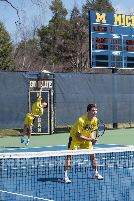 4/11/14 Men's Tennis vs. Minnesota at the Varsity Tennis Center, Ann Arbor, MI.
