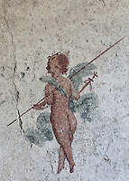 Fresco detail of an amorini in a small room in the Casa dell Efebo, or House of the Ephebus, Pompeii, Italy. This is a large, sumptuously decorated house probably owned by a rich family, and named after the statue of the Ephebus found here. Pompeii is a Roman town which was destroyed and buried under 4-6 m of volcanic ash in the eruption of Mount Vesuvius in 79 AD. Buildings and artefacts were preserved in the ash and have been excavated and restored. Pompeii is listed as a UNESCO World Heritage Site. Picture by Manuel Cohen