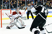 Justin William (Los Angeles Kings, #14) shots on Ilya Bryzgalov (Phoenix Coyotes, #30) goal during ice-hockey match between Los Angeles Kings and Phoenix Coyotes in NHL league, March 3, 2011 at Staples Center, Los Angeles, USA. (Photo By Matic Klansek Velej / Sportida.com)