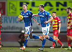 St Johnstone v Partick Thistle&hellip;02.03.16  SPFL McDiarmid Park, Perth<br />Steven MacLean congratulates Chris Kane on his goal<br />Picture by Graeme Hart.<br />Copyright Perthshire Picture Agency<br />Tel: 01738 623350  Mobile: 07990 594431