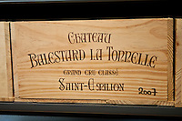 Case of fine wine Chateau Balestard La Tonnelle 2007 at Vignobles et Chateaux wine merchant in St Emilion, Bordeaux, France