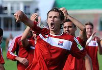 FUSSBALL   DFB POKAL   SAISON 2011/2012  1. Hauptrunde SpVgg Unterhaching - SC Freiburg             31.07.2011 JUBEL Mijo Tunjic (Unterhaching)