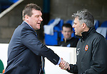 St Johnstone v Dundee United...19.04.14    SPFL<br /> Tommy Wright shakes hands with Darren Jackson prior to kick off<br /> Picture by Graeme Hart.<br /> Copyright Perthshire Picture Agency<br /> Tel: 01738 623350  Mobile: 07990 594431