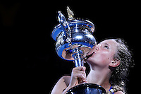 MELBOURNE, AUSTRALIA - JANUARY 28:  Victoria Azarenka of Belarus defeated Maria Sharapova of Russia to win the women's final during day 13 of the Australian Open 2012.  (Photo by Marianna Massey/Marianna Massey)