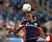 New England Revolution forward Jerry Bengtson (27) battle for head ball. In a Major League Soccer (MLS) match, the New England Revolution tied Chivas USA, 3-3, at Gillette Stadium on August 29, 2012.
