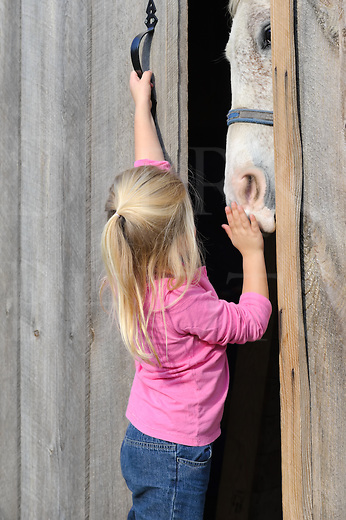 Small blonde girl putting her horse away and shutting the barn door, little four year old child.