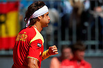 06.04.2012 Oropesa, Spain. 1/4 Final Davis Cup. David Ferrer reacts during second match of 1/4 final game of Davis Cup played at Oropesa town.