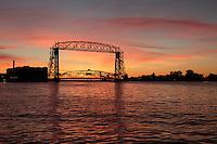 &quot;Lift Bridge at Sunrise&quot;<br /> The Aerial Lift Bridge frames an incredible October sunrise over Lake Superior.