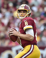 Washington Redskins quarterback Kirk Cousins (8) looks for a receiver in first half action against the Cleveland Browns at FedEx Field in Landover, Maryland on October 2, 2016.<br /> Credit: Ron Sachs / CNP /MediaPunch ***EDITORIAL USE ONLY***