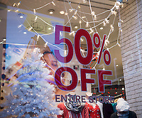 An Aeropostale store in New York offers a pre-Christmas, pre-Black Friday sale of 50 percent off, seen on Friday, November 20, 2015.  (© Richard B. Levine)