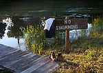NO Swimming sign by a pond with clothes hanging from sign
