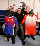 Fernando Ricksen with ex-Rangers players Derek Ferguson and John MacDonald this afternoon as the players strips for his Rangers Legends v England Select benefit match are revealed. The match in Fleetwood on March 25th will raise funds for Moror Neurone research