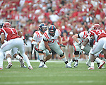 Ole Miss center Evan Swindall (56) at Reynolds Razorback Stadium in Fayetteville, Ark. on Saturday, October 23, 2010.