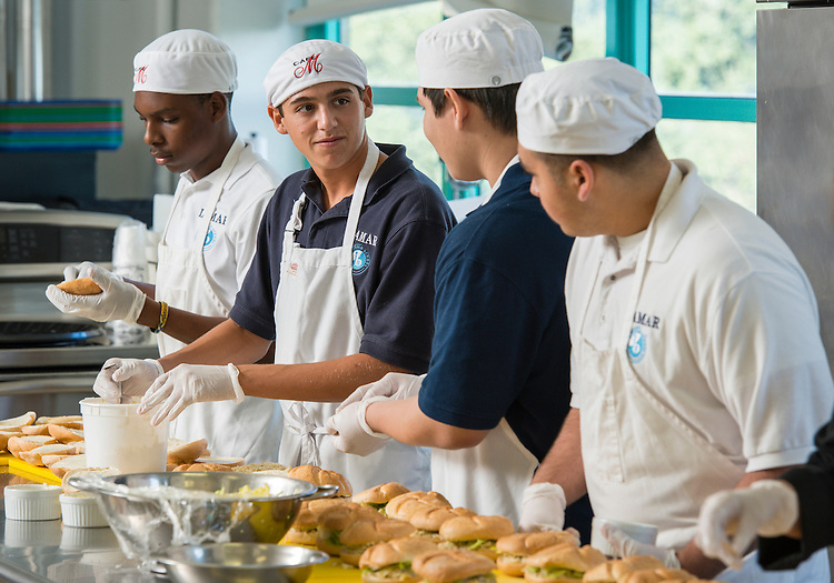 Culinary students work on a project at Lamar High School, September 23, 2014.