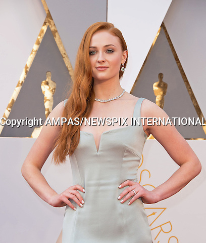 28.02.2016; Hollywood, California: 88th OSCARS - SOPHIE TURNER<br /> attend the 88th Annual Academy Awards at the Dolby Theatre&reg; at Hollywood &amp; Highland Center&reg;, Los Angeles.<br /> Mandatory Photo Credit: &copy;Ampas/Newspix International<br /> <br /> PHOTO CREDIT MANDATORY!!: NEWSPIX INTERNATIONAL(Failure to credit will incur a surcharge of 100% of reproduction fees)<br /> <br /> IMMEDIATE CONFIRMATION OF USAGE REQUIRED:<br /> Newspix International, 31 Chinnery Hill, Bishop's Stortford, ENGLAND CM23 3PS<br /> Tel:+441279 324672  ; Fax: +441279656877<br /> Mobile:  0777568 1153<br /> e-mail: info@newspixinternational.co.uk<br /> All Fees To: Newspix International