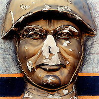 The weathered face of a Soviet soldier on a World War II monument in a deserted Soviet Army barracks in the former East Germany.  The Cold War, which formed part of the collective consciousness of post war Europe from 1945 until 1989 dominated the military and political landscape.  Often highly charged with nationalistic zeal, Soviet rhetoric and paranoia, relics of the Cold War remain as testaments to the covert era within Eastern Europe... CHECK with MRM/FNA