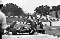 HAMPTON, GA - APRIL 22: Bobby Unser makes a pit stop during the Gould Twin Dixie 125 event on April 22, 1979, at Atlanta International Raceway near Hampton, Georgia.