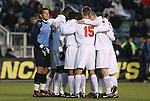 11 December 2009: Virginia's starters huddle before the game. The University of Virginia Cavaliers defeated the Wake Forest University Demon Deacons 2-1 after overtime at WakeMed Soccer Stadium in Cary, North Carolina in an NCAA Division I Men's College Cup Semifinal game.