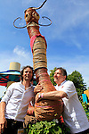 29/06/2015<br /> <br /> RHS Hampton Court Palace Flower Show prepares to open to the public.<br /> <br /> Raymond Blanc OBE (right) and his son Olivier Blanc (left) pose with Henri Le Worm at the Henri Le Worm: Community Garden.