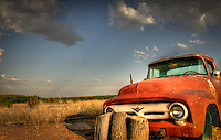 Red Ford Truck next to cornfield - Arizona. Salt River Indian Reservation - Pima