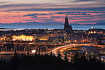 Reykjavik City at sunset, Iceland