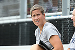 07 September 2014: Penn State head coach Erica Walsh. The Duke University Blue Devils hosted the Penn State University Nittany Lions at Koskinen Stadium in Durham, North Carolina in a 2014 NCAA Division I Women's Soccer match. PSU won the game 4-3.
