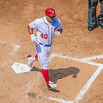 24 July 2016: Washington Nationals catcher Wilson Ramos comes home to score on his 2-run homer in the 3rd inning against the San Diego Padres at Nationals Park in Washington, DC. The Padres defeated the Nationals 10-6 to take the rubber match of their 3-game, weekend series. Mandatory Credit: Ed Wolfstein Photo *** RAW (NEF) Image File Available ***