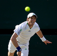 ANDY MURRAY (GBR) (4) against RAFAEL NADAL (ESP) (1) in the Semi-Finals of the Gentlemen's Singles. Rafael Nadal beat Andy Murray 5-7 6-2 6-2 6-4..Tennis - Grand Slam - Wimbledon - AELTC - London- Day 11 - Fri July 1st 2011..© AMN Images, Barry House, 20-22 Worple Road, London, SW19 4DH, UK..+44 208 947 0100.www.amnimages.photoshelter.com.www.advantagemedianetwork.com.