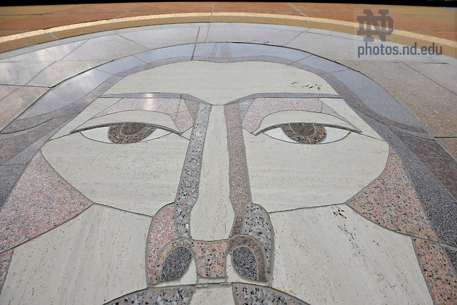 "Jul. 28, 2011; Closeup of the face of Jesus from the ""Word of Life"" mural on Hesburgh Library...Photo by Matt Cashore/University of Notre Dame"