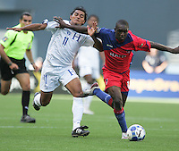 Mariano Acevedo (left) battles against Fabrice Noel (right). Honduras defeated Haiti 1-0 during the First Round of the 2009 CONCACAF Gold Cup at Qwest Field in Seattle, Washington on July 4, 2009.