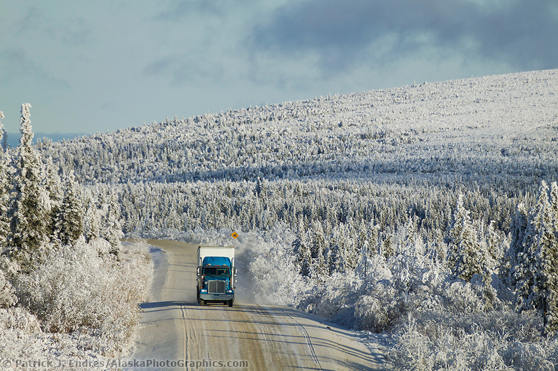 Truckers hauls supplies along the James Dalton Highway, Arctic Alaska