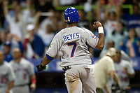 10 March 2009: #7 Jose Reyes celebrates after he scores a run in the eleventh inning breaking a 0-0 tie against the Netherlands during the 2009 World Baseball Classic Pool D game 5 at Hiram Bithorn Stadium in San Juan, Puerto Rico. The Netherlands pulled off second upset to advance to the secound round. The Netherlands come from behind in the bottom of the 11th inning and beat the Dominican Republic, 2-1.