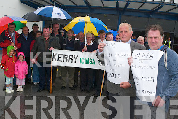 BAN THE EAGLE: Kerry farmers joined in protest at Kerry Airport on Monday morning in.protest to the re-introduction of the White Tailed Eagle into the county.