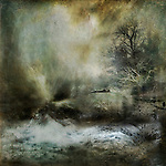 Painterly effect landscape with trees and snow