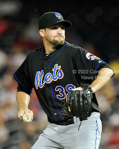 New York Mets pitcher Bobby Parnell (39) pitches in the eighth inning against the Washington Nationals at Nationals Park in Washington, D.C. on Friday, July 29, 2011.  The Mets won the game 8 - 5..Credit: Ron Sachs / CNP.(RESTRICTION: NO New York or New Jersey Newspapers or newspapers within a 75 mile radius of New York City)