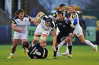 Charlie Ewels of Bath Rugby takes on the Newcastle Falcons defence. Aviva Premiership match, between Newcastle Falcons and Bath Rugby on January 2, 2016 at Kingston Park in Newcastle upon Tyne, England. Photo by: Patrick Khachfe / Onside Images